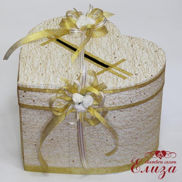 Сватбена кутия за пари в златно СЪРЦЕ H12